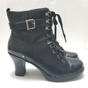 Mudd Black High Heeled Combat Boots Size 11